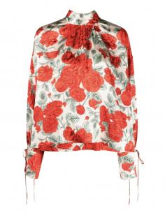 Blouse GANNI rouge col lavaliere imprimé fleurs pour femme - SS21