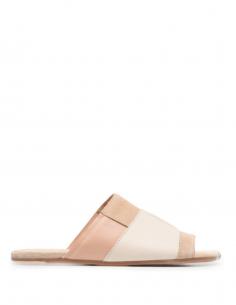 Sandales MM6 plates style patchwork beige pour femme - SS21