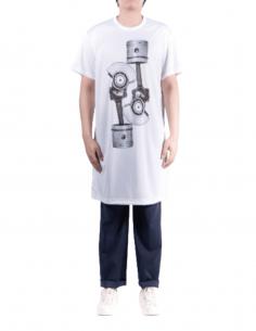 COMME DES GARÇONS HOMME PLUS long t-shirt in white fishnet with bolt print - SS21