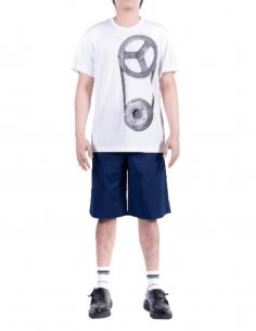 COMME DES GARÇONS HOMME PLUS white mesh t-shirt with mechanical print - SS21