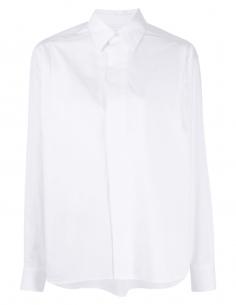 Chemise AMI PARIS blanche oversize avec plis pour femme - SS21
