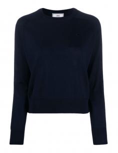 Pull AMI PARIS bleu marine col rond en laine merinos pour femme - SS21