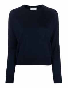 AMI PARIS navy blue sweater with round neck in merino wool for women - SS21