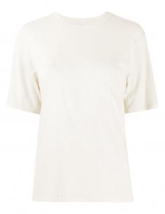 AMI PARIS T-shirt in ecru cotton and viscose for women - SS21