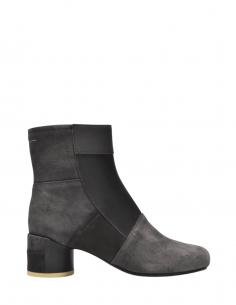 Boots en cuir patchwork MM6 à talons grises - SS21
