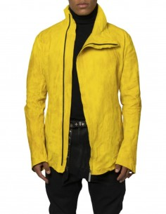 """ISAAC SELLAM """"Dorsal Vegetal Condi"""" jacket in yellow leather for men - SS21"""