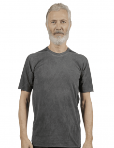 T-shirt ISAAC SELLAM gris anthracite avec ficelle pour homme - SS21