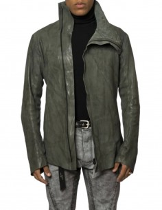 """ISAAC SELLAM """"Dorsal Condi"""" jacket in khaki leather for men - SS21"""