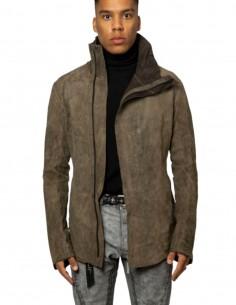 "ISAAC SELLAM ""Dorsal Vegetal Condi"" jacket in khaki leather for men - SS21"