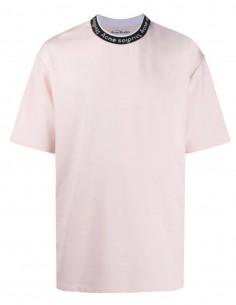 T-shirt ACNE STUDIOS rose pour homme avec logo brodé - SS21