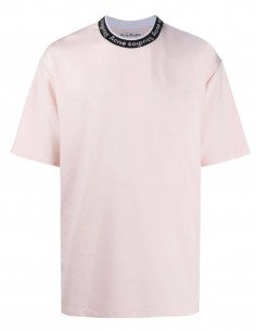 ACNE STUDIOS pink t-shirt for men with embroidered logo - SS21