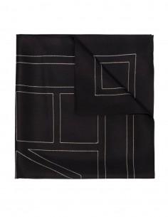 Foulard TOTÊME logo monogramme en soie noir pour femme - SS21