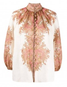 ZIMMERMANN white blouse with puffed sleeves and cashmere print - SS21
