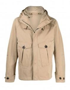 Parka TEN C courte beige à capuche avec poches pour homme - SS21