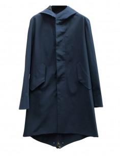 Parka fishtail HARRIS WHARF bleu à capuche pour homme - SS21
