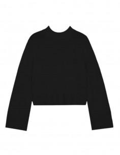 Pull CO court en laine et cachemire avec manches cloches noir pour femme