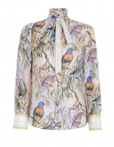 ZIMMERMANN silk blouse with parrot print and tie bow collar neckline - SS21