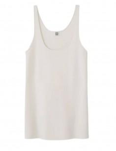 TOTÊME ecru tank top with straight cut hem for women - SS21