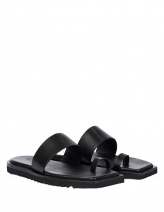 RICK OWENS black sandals with notched sole for women - SS21