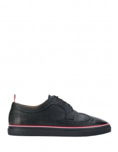 THOM BROWNE perforated toe-cap brogue-type black derbies