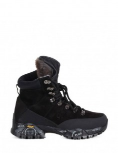 "PREMIATA WHITE black ""MIDTREK"" furred boots in leather for woman"