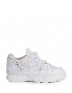 """MAISON MARGIELA """"FUSION"""" thick sole sneakers in white leather for man."""