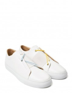 """Toi et moi"" white leather sneakers elastic band and bi-color shoelaces DANIEL ESSA for woman and man"