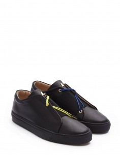 """Secret"" black leather sneakers with elastic band and shoelaces DANIEL ESSA for woman and man"