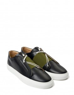 """Toi et moi"" black leather sneakers DANIEL ESSA for woman and man"