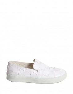 PREMIATA - White Plaited Leather Slip-On Sneakers Premiata for Man - serie ||| NOIRE