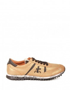"""Scratched Leather """"Sean"""" Golden Sneakers Premiata White for Man - serie 