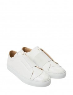 """A mon avis"""" white sneakers in leather with elastic band DANIEL eSSA for woman and man."