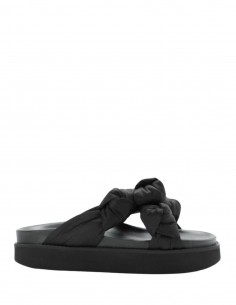 GANNI platform sandals in black satin with bow for women - SS21