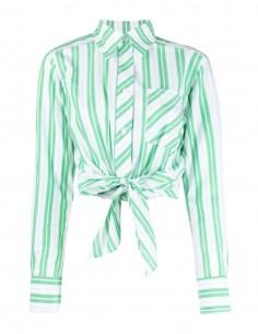 Chemise GANNI verte à rayures avec taille nouée pour femme  - SS21