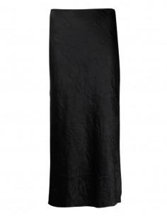 Jupe mi-longue GANNI coupe droite en satin noir - SS21