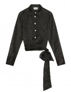 GANNI shirt in black satin to tie at waist for women - SS21