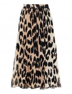Jupe longue GANNI plissée coupe trapèze imprimé léopard - SS21