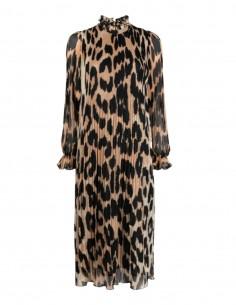 Long GANNI fluid leopard print dress with long sleeves - SS21