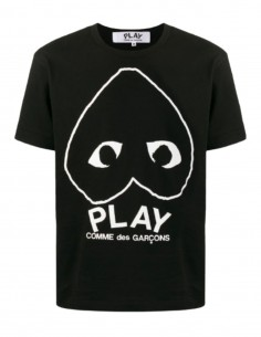 """Black """"Az-t114"""" T-shirt COMME DES GARÇONS Play heart and logo - SS21"""