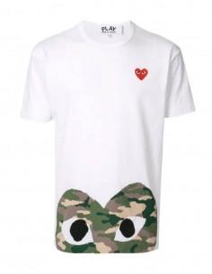 """T-shirt blanc COMME DES GARÇONS Play """"Az-t244"""" coeur camouflage - SS21"""