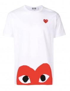 """T-shirt blanc COMME DES GARÇONS Play """"Az-t034"""" coeur rouge - SS21"""
