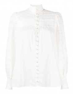 White embroidered ZIMMERMANN blouse with puffed sleeves - SS21