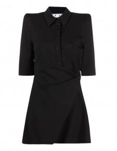 Robe OFF-WHITE noire avec drapé croisé et col chemise - SS21