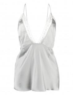 Top lingerie MM6 en viscose gris avec décolleté en dentelle - SS21