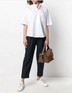 Pantalon ACNE STUDIOS plissé en toile de laine bleue pour femme - SS21