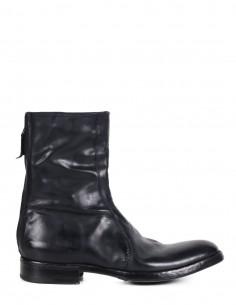 Boots montantes PREMIATA à bout rond en cuir glacé noir pour homme