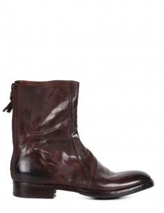 Boots montantes PREMIATA à bout rond en cuir glacé marron pour homme