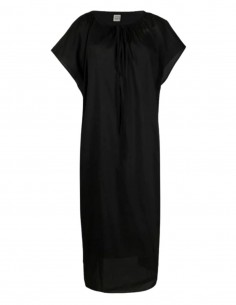 TOTËME long black tunic dress with boat-neck - SS21