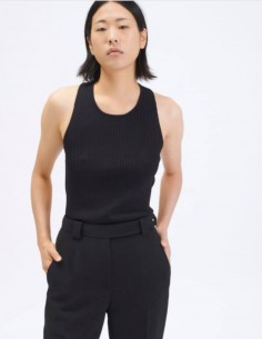Black ribbed tank top BARBARA BUI with cross open back for women - SS21
