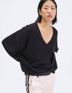 Black BARBARA BUI V-neck sweater in merino wool and silk for women - SS21